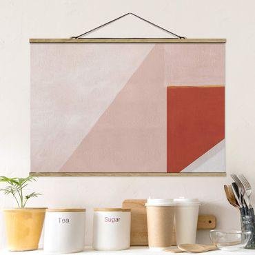 Stoffbild mit Posterleisten - Rosa Geometrie - Querformat 3:2