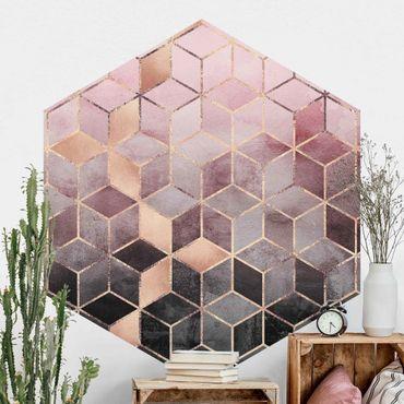 Hexagon Mustertapete selbstklebend - Rosa Grau goldene Geometrie