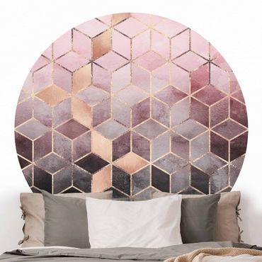 Runde Tapete selbstklebend - Rosa Grau goldene Geometrie