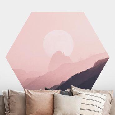 Hexagon Mustertapete selbstklebend - Rosa Nebelschein