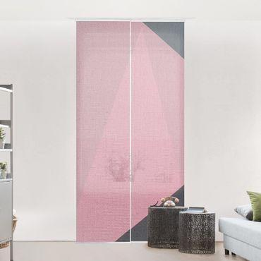 Schiebegardinen Set - Rosa Transparenz Geometrie - Flächenvorhang