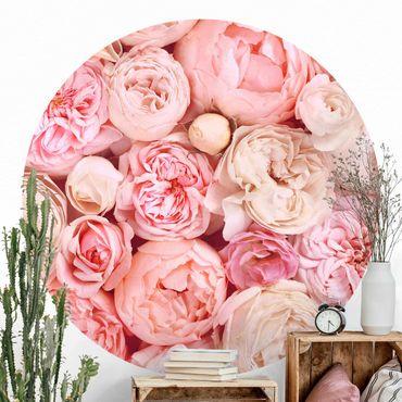 Runde Tapete selbstklebend - Rosen Rosé Koralle Shabby