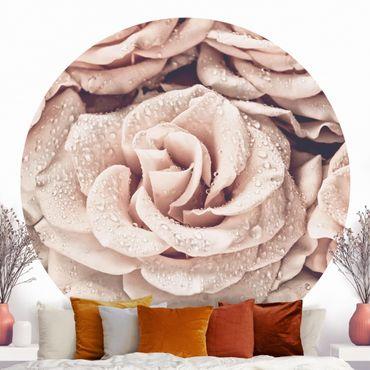 Runde Tapete selbstklebend - Rosen Sepia mit Wassertropfen