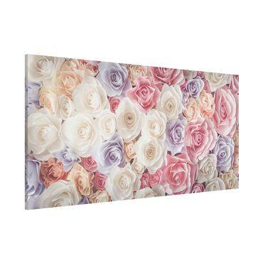 Magnettafel - Pastell Paper Art Rosen - Blumenbild Memoboard Panorama Quer