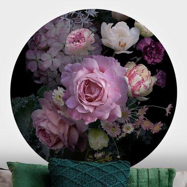 Runde Tapete selbstklebend - Rosentraum Bouquet