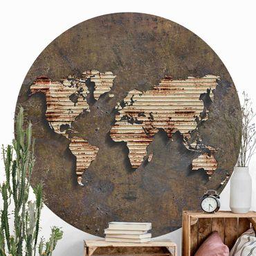 Runde Tapete selbstklebend - Rost Weltkarte