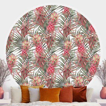 Runde Tapete selbstklebend - Rote Ananas mit Palmenblättern Tropisch