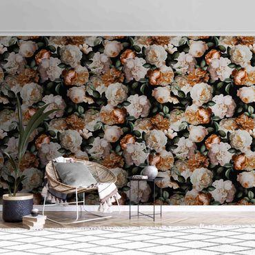 Metallic Tapete  - Rote Rosen mit Weißen Rosen