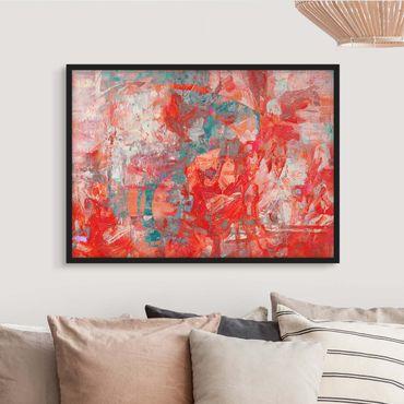 Bild mit Rahmen - Roter Feuertanz - Querformat