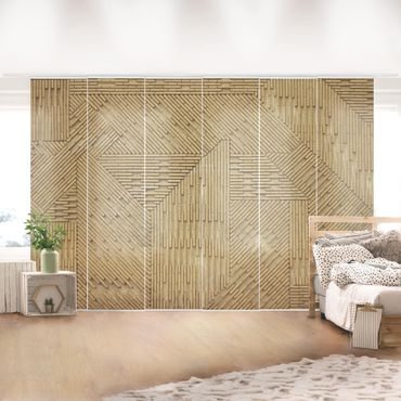 Schiebegardinen Set - Design Klinker Natur - Flächenvorhänge