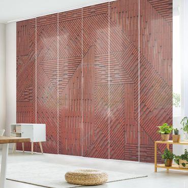 Schiebegardinen Set - Design Ziegelstein Rot - Flächenvorhänge