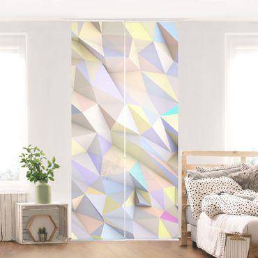 Schiebegardinen Set - Geometrische Pastell Dreiecke in 3D - Flächenvorhänge