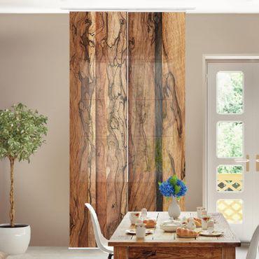 Schiebegardinen Set - Holzwand Flamed - Flächenvorhänge