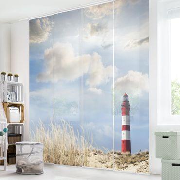 Schiebegardinen Set - Leuchtturm in den Dünen - Flächenvorhänge