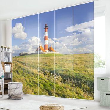 Schiebegardinen Set - Leuchtturm in Schleswig-Holstein - Flächenvorhänge
