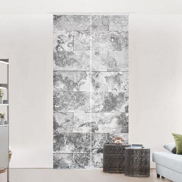 Schiebegardinen Set - Steinwand Naturmarmor grau - Flächenvorhänge