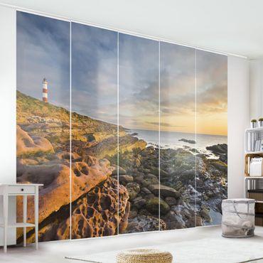 Schiebegardinen Set - Tarbat Ness Meer & Leuchtturm bei Sonnenuntergang - Flächenvorhänge