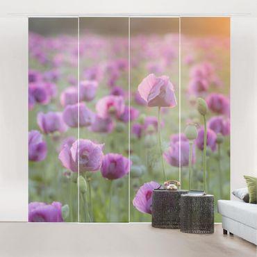 Schiebegardinen Set - Violette Schlafmohn Blumenwiese im Frühling - Flächenvorhänge
