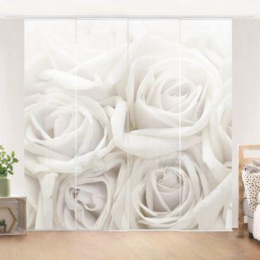Schiebegardinen Set - Weiße Rosen - Flächenvorhänge