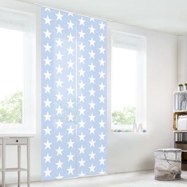 Schiebegardinen Set - Weiße Sterne auf Blau - Flächenvorhänge