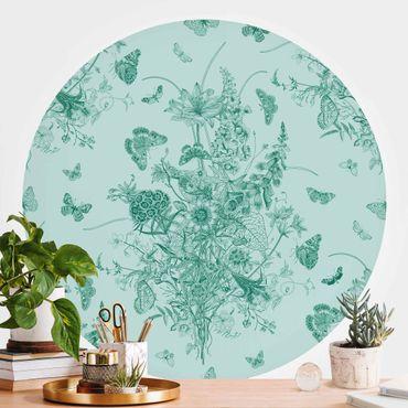 Runde Tapete selbstklebend - Schmetterlinge um Blumeninsel in Grün II