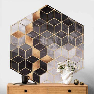 Hexagon Mustertapete selbstklebend - Schwarz Weiß goldene Geometrie