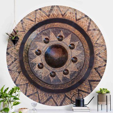 Runde Tapete selbstklebend - Schwarzer Kreis mit Details in Gold