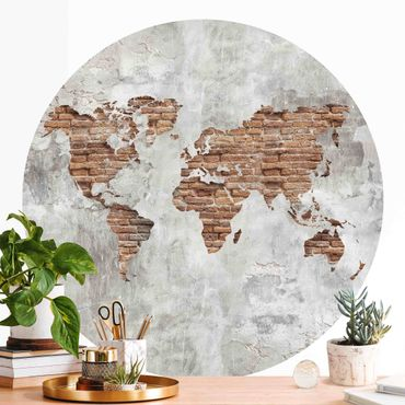 Runde Tapete selbstklebend - Shabby Beton Backstein Weltkarte