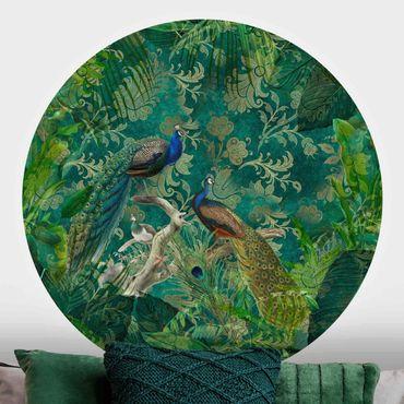 Runde Tapete selbstklebend - Shabby Chic Collage - Edler Pfau II