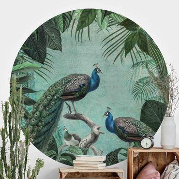 Runde Tapete selbstklebend - Shabby Chic Collage - Edler Pfau