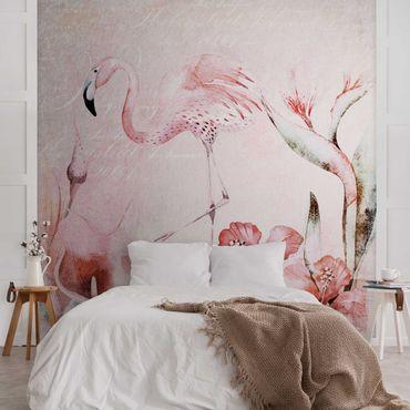 Metallic Tapete  - Shabby Chic Collage - Flamingo