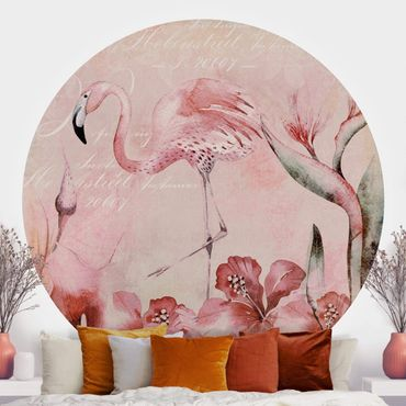 Runde Tapete selbstklebend - Shabby Chic Collage - Flamingo