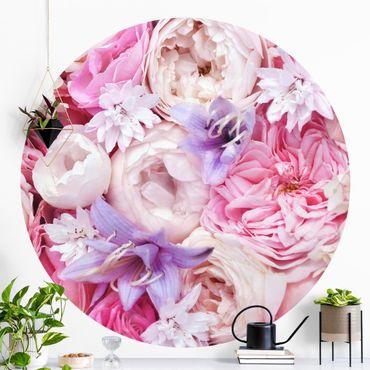 Runde Tapete selbstklebend - Shabby Rosen mit Glockenblumen