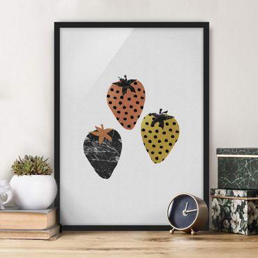 Bild mit Rahmen - Skandinavische Erdbeeren - Hochformat