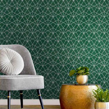 Metallic Tapete  - Smaragd Art Deco Linienmuster