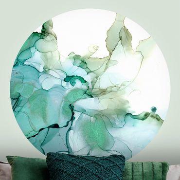 Runde Tapete selbstklebend - Smaragdfarbener Sturm II