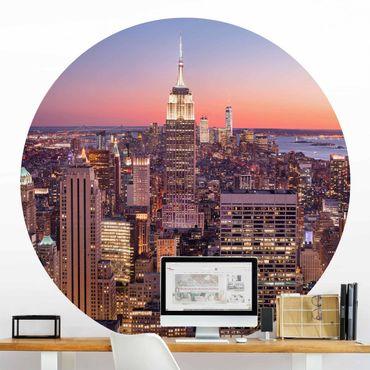 Runde Tapete selbstklebend - Sonnenuntergang Manhattan New York City