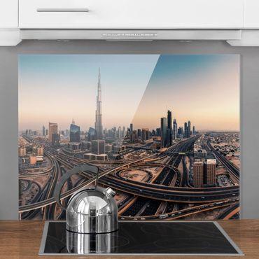 Spritzschutz Glas - Abendstimmung in Dubai - Querformat 3:4