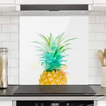 Spritzschutz Glas - Ananas Aquarell - Quadrat 1:1