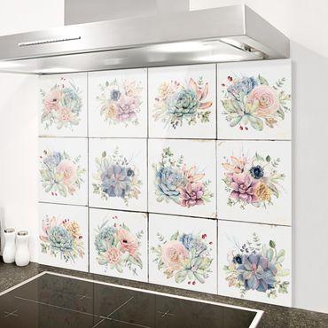 Spritzschutz Glas - Aquarell Blumen Landhaus - Querformat 2:1