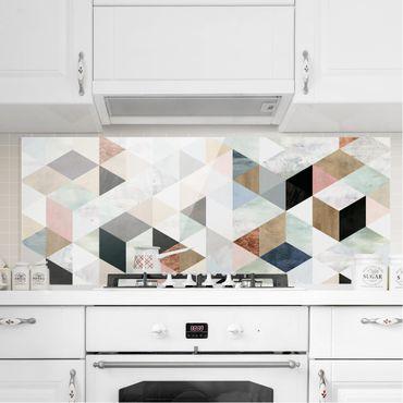 Spritzschutz Glas - Aquarell-Mosaik mit Dreiecken I - Panorama