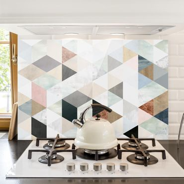 Spritzschutz Glas - Aquarell-Mosaik mit Dreiecken I - Querformat 2:3