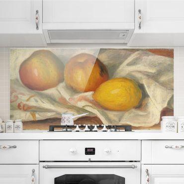 Spritzschutz Glas - Auguste Renoir - Äpfel und Zitrone - Quer 2:1
