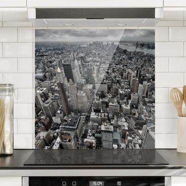 Spritzschutz Glas - Blick über Manhattan - Quadrat 1:1
