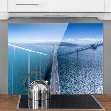 Spritzschutz Glas - Brücke zur Insel - Querformat 3:4