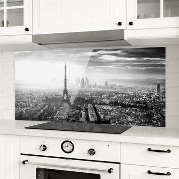 Spritzschutz Glas - Der Eiffelturm von Oben Schwarz-weiß - Panorama