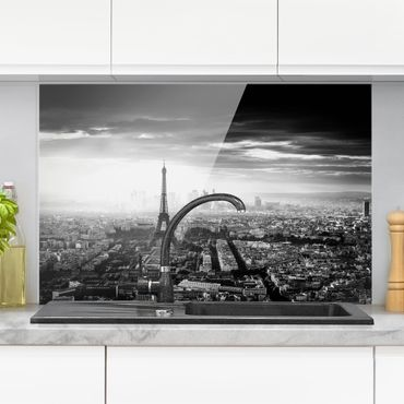 Spritzschutz Glas - Der Eiffelturm von Oben Schwarz-weiß - Querformat 2:3
