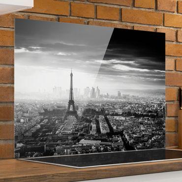 Spritzschutz Glas - Der Eiffelturm von Oben Schwarz-weiß - Querformat 3:4