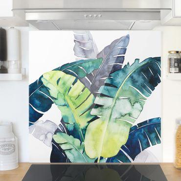 Spritzschutz Glas - Exotisches Blattwerk - Banane - Quadrat 1:1