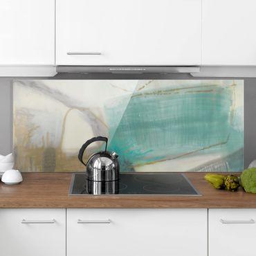 Spritzschutz Glas - Fangzähne mit Türkis I - Panorama
